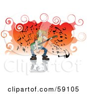 Royalty Free RF Clipart Illustration Of A Blond Man With Long Hair Grinning And Playing A Guitar by Frisko