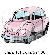 Royalty Free RF Clipart Illustration Of A Pale Pink Slug Bug Car