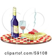 Royalty Free RF Clipart Illustration Of A Checkered Table With Wine And Spaghetti by Frisko
