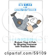 Royalty Free RF Clipart Illustration Of A Falling Worker With Text Reading Its Winter And The Ground Is Frozen Reduce Trips And Falls By Wearing Footwear With Traction Soles by djart