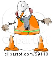 Construction Worker Snowman In Warm Clothes And A Hard Hat Standing Behind Cones