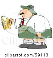 Royalty Free RF Clipart Illustration Of An Oktoberfest Man Holding An Overflowing Beer Mug by djart