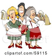 Royalty Free RF Clipart Illustration Of A Group Of Three Oktoberfest Ladies With Beer
