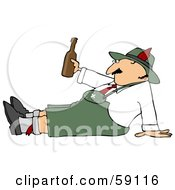Oktoberfest Man Sitting On The Ground Holding A Beer Bottle