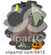 Halloween Ghoul Picking Up A Jack O Lantern At Night Clipart Picture by djart