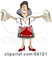 Royalty Free RF Clipart Illustration Of A Friendly Oktoberfest Woman Holding Out Two Beer Mugs