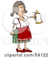 Friendly Oktoberfest Woman Holding Out A White Beer Stein