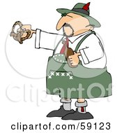 Royalty Free RF Clipart Illustration Of An Oktoberfest Man Holding A Beer Bottle And Soft Pretzel by djart