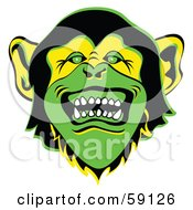 Evil Green Monkey Face With Sharp Teeth