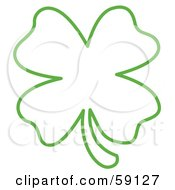 Royalty Free RF Clipart Illustration Of A Green Lucky Four Leaf Clover Outline by Andy Nortnik