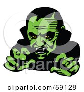 Royalty Free RF Clipart Illustration Of A Scary Green Vampire Reaching Outwards