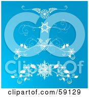 Royalty Free RF Clipart Illustration Of A Digital Collage Of Four Icy Snowflake Flourish Designs On Blue by elaineitalia