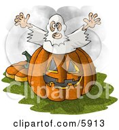 Halloween Ghost Man Jumping Out Of A Pumpkin by djart