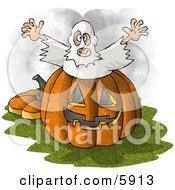 Halloween Ghost Man Jumping Out Of A Pumpkin