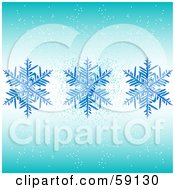 Royalty Free RF Clipart Illustration Of A Background Of Three Blue Snowflakes And Snow