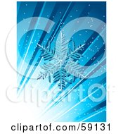 Royalty Free RF Clipart Illustration Of A Snowflake On A Blue Background With Bright Light And Rays
