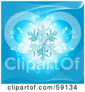Royalty Free RF Clipart Illustration Of A Blue Snowflake On A Glowing White And Blue Background With Flourishes by elaineitalia