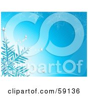 Royalty Free RF Clipart Illustration Of A Snowflake With Silver Stars On A Blue Lined Background by elaineitalia