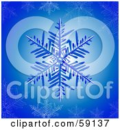 Royalty Free RF Clipart Illustration Of A Blue Snowflake On A Glowing Background With Icy Snowflakes by elaineitalia
