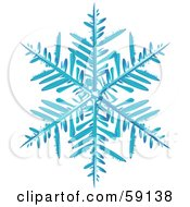 Royalty Free RF Clipart Illustration Of An Icy Blue Snowflake On An Off White Background