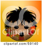 Royalty Free RF Clipart Illustration Of A Cute Hedgehog In A Circle With Autumn Leaves On Orange by elaineitalia