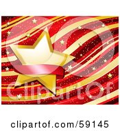 Royalty Free RF Clipart Illustration Of A Blank Red Banner Over A Golden Star On A Waving Red And Gold Background With Tiny Gold Stars by elaineitalia