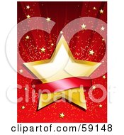 Royalty Free RF Clipart Illustration Of A Blank Red Banner Over A Golden Star On A Shining Red Background With Tiny Gold Stars by elaineitalia