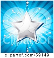 Royalty Free RF Clipart Illustration Of A Shiny Chrome Star Over A Shining Blue Background With Tiny Silver Stars by elaineitalia