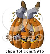 Man Stuck Inside A Big Halloween Pumpkin With A Carved Face Clipart Picture