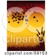 Royalty Free RF Clipart Illustration Of A Tree Branch Falling Leaves Grass And Wheat Silhouetted Against Orange by elaineitalia