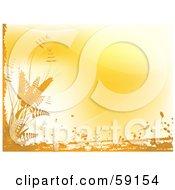Orange Background Bordered By Grunge And Wheat