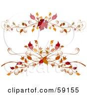 Royalty Free RF Clipart Illustration Of A Digital Collage Of Two Elegant Autumn Foliage Flourishes On White by elaineitalia #COLLC59155-0046