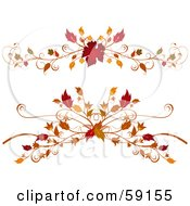 Royalty Free RF Clipart Illustration Of A Digital Collage Of Two Elegant Autumn Foliage Flourishes On White by elaineitalia