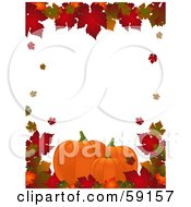 Royalty Free RF Clipart Illustration Of An Autumn Border Of Colorful Leaves Around White With Pumpkins Along The Lower Bottom