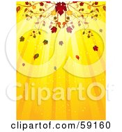 Royalty Free RF Clipart Illustration Of An Elegant Fall Flourish Above A Yellow Background Of Light Rays by elaineitalia