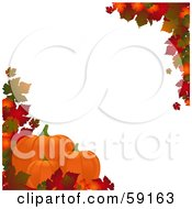 Royalty Free RF Clipart Illustration Of An Autumn Border Of Colorful Leaves Around White With Pumpkins Along The Lower Left