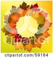 Royalty Free RF Clipart Illustration Of A Colorful Autumn Wreath Of Leaves On Yellow by elaineitalia
