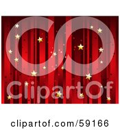 Royalty Free RF Clipart Illustration Of A Horizontal Background Of Vertical Red Stripes And Floating Gold Stars by elaineitalia