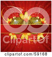 Royalty Free RF Clipart Illustration Of Two Golden Christmas Ornaments And Holly Behind A Text Box On A Shining Red Background by elaineitalia