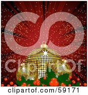 Royalty Free RF Clipart Illustration Of Three Golden Disco Christmas Baubles And Holly On A Red Background Of Rays And Sparkles by elaineitalia