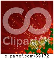 Royalty Free RF Clipart Illustration Of A Red Background Of Rays And Sparkles With Golden Disco Styled Christmas Ornaments And Holly by elaineitalia