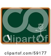 Royalty Free RF Clipart Illustration Of A Piece Of Chalk By A Drawing Of A Stick Person On A Chalkboard by elaineitalia