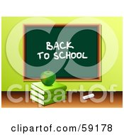 Royalty Free RF Clipart Illustration Of A Green Apple Resting On A Stack Of Books In Front Of A Back To School Chalk Board