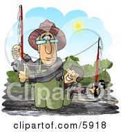 Grandpa And Grandson Fishing In A River On A Sunny Day Clipart Picture