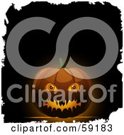 Royalty Free RF Clipart Illustration Of An Evil Jack O Lantern With Eyeballs On A Glowing Dark Background With White Grunge