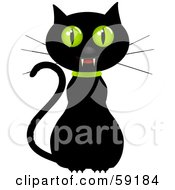 Royalty Free RF Clipart Illustration Of A Creepy Black Cat With Green Eyes And Fangs