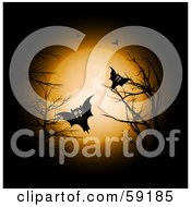 Group Of Creepy Vampire Bats With Fangs Flying Between Bare Branches Against A Full Moon