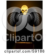 Royalty Free RF Clipart Illustration Of A Creepy Skull With Black Wings Resting Over A Blank Black Sign by elaineitalia