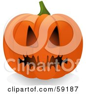 Royalty Free RF Clipart Illustration Of An Evil Orange Halloween Pumpkin Face With A Spooky Mouth by elaineitalia