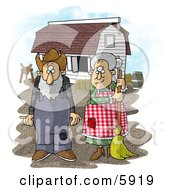 Farmer Wife And Husband Standing In Front Of A Barn